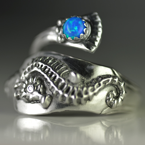 Sterling Silver Seahorse Spoon Ring