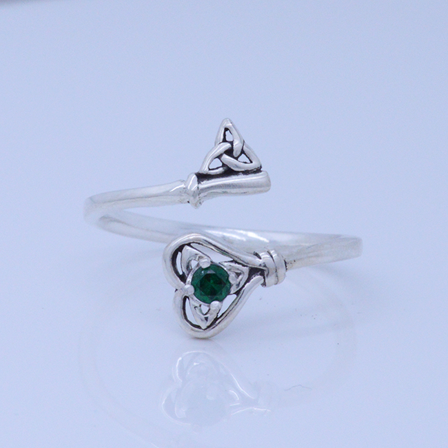 Celtic Heart Triquetra Key Adjustable Spoon Ring With