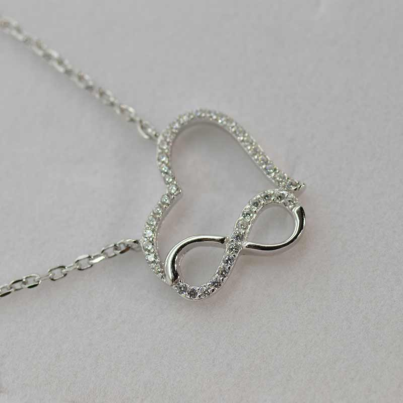 Sterling Silver Heart And Infinity Necklace