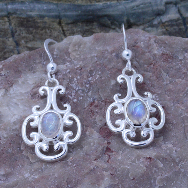 stone products silver earrings moon moonstone sterling rainbow