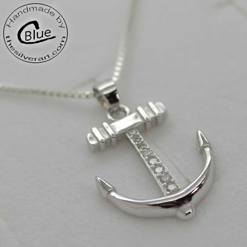 Sterling silver anchor pendant necklace anchor necklace sterling silver aloadofball Gallery