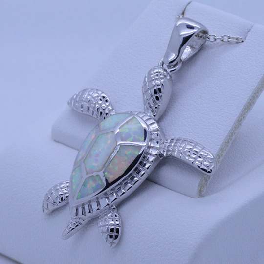 Sterling Silver Large Sea Turtle Pendant With Inlayfire Opal