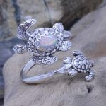 turtles spoon ring with white opal