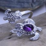 turtles spoon ring with amethyst