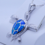Sterling Silver Large Sea Turtle Pendant with inlay Blue Fire Opal