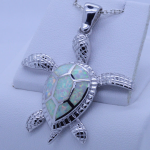 Sterling Silver Large Sea Turtle Pendant with inlay white Fire Opal