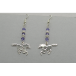 Sterling silver galloping Horse Heart Earrings with Genuine Purple Swarovski crystals