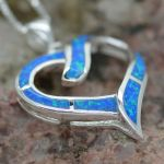 Blue Fire Opal Inlay Drop sterling silver 925 earrings pendant set heart