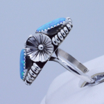 Sterling Silver 2 Blue Fire Opal Gemstones lady's Long Dome Ring (AKA Bug Ring) size 8.5 adjustable