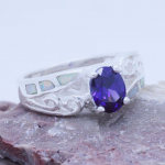 We'll email you if it doesn't. Engagement Ring Sterling silver Inlaid 6 Fire Opal & purple Amethyst Ladies Ring