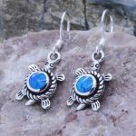 blue opal turtles earrings inlay peace