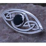 Handmade Sterling Silver Celtic filigree Brooch Pin with dark Green Agate