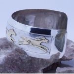 GOLD and Sterling Silver 925 Horses Wide cuff bracelet adjustable