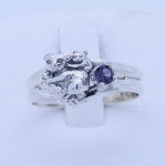 Sterling Silver Koala Ring with birthstone