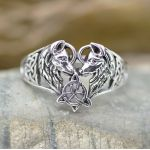 wolf couple heart ring sterling silver no gemstone