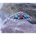 Sterling Silver Genuine Turquoise & red coral cuff bracelet
