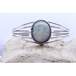 Women's Sterling Silver  Wide cuff bracelet with Opal inlay