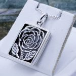 Rose Flower Filigree Sterling Silver 925 Gemstone Locket pendant birthstone