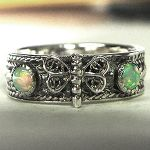 sterling silver handamde dragonfly band ring with opals