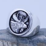 moose head ring sterling silver
