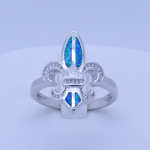 Blue Fire Opal Inlay Fleur-de-lis Ring