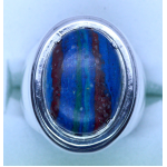 Rainbow Calsilica Sterling Silver Ring