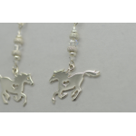 Sterling silver galloping Horse Heart Earrings with Genuine Swarovski crystals