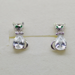 White Zircon Kitty Cat sterling silver 925 stud earrings