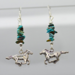 Sterling silver galloping Horse Earrings with Genuine Turquoise
