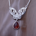 Filigree Celtic Butterfly Amber Drop Necklace