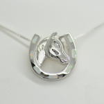 Sterling Silver 925 Horse Head and Horseshoe Pendant with inlay Fire Opal