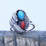 terling silver Genuine Turquoise and red Coral Ladies Ring