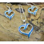 Blue Fire Opal Inlay earrings pendant set