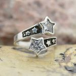 Sterling Silver Adjustable STARS Spoon Ring (small medium or large) with Swarovski crystals