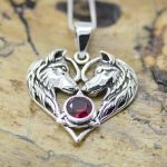 Wolf Couple heart pendant Unisex with Birthston