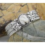 Genuine White Buffalo Gemstone Sterling Silver 925 cuff bracelet