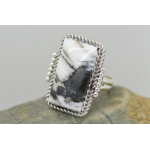 Genuine White Buffalo Gemstone Women's Ring by Native American Navajo Artist