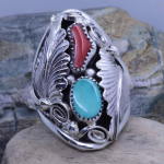 turquoise coral mens ring