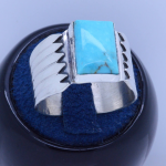 Sterling Silver Natural Square Turquoise Men's Ring size 14