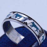 Wolf detailed band with Inlaid Turquoise