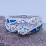 Sterling silver Inlaid 6 blue Fire Opal & White Topaz Ladies Ring