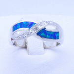 Infinity Sterling silver blue Opal Inlay and white Zircons Ladies Ring