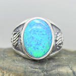 Bear Paw Inlaid Blue Fire Opal Gemstone Men Ring