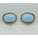 Blue Opal Light or Dark Gemstones Sterling Silver Cufflinks