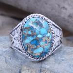 Copper Turquoise mens ring