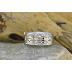 Feather Tepee band Ring Sterling Silver 925 and Gold