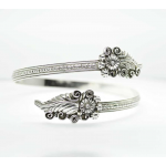 Sterling Silver 925 Flowers wrap cuff bracelet adjustable