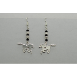 Sterling silver galloping Horse Heart Earrings with Genuine Black Swarovski crystals
