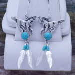 horse earrings turquoise sterling silver