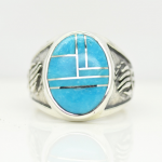 Bear Paw Inlaid Natural  Turquoise Gemstone Men Ring